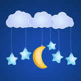 Clouds with hanging stars Stock Image