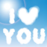 Clouds heart on sky blue background. Vector illust Royalty Free Stock Photos