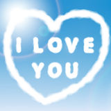 Clouds heart on sky blue background. Vector illust Royalty Free Stock Photo