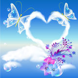 Clouds heart and two butterflies Stock Photography