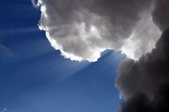 Clouds in heaven. Luminous source from couds in heaven Royalty Free Stock Image