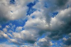 Blue Sky and puffy clouds. A horizontal shot of bright blue sky with puffy white clouds Stock Image
