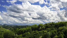 Clouds on the hills stock photography