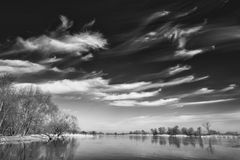 Clouds hunting over the river Oder, Germany Royalty Free Stock Images
