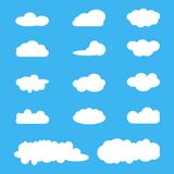 Clouds icon set, white clouds on blue. Cloud computing pack. Design elements Stock Photos
