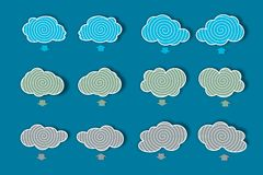 Clouds of icons for download and upload data, vector stock illustration