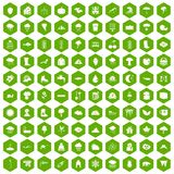 100 clouds icons hexagon green. 100 clouds icons set in green hexagon isolated vector illustration Stock Photos