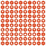 100 clouds icons hexagon orange. 100 clouds icons set in orange hexagon isolated vector illustration Royalty Free Stock Image