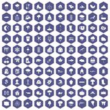 100 clouds icons hexagon purple Royalty Free Stock Image