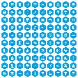 100 clouds icons set blue. 100 clouds icons set in blue hexagon isolated vector illustration stock illustration