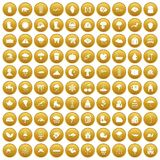 100 clouds icons set gold. 100 clouds icons set in gold circle isolated on white vectr illustration Royalty Free Stock Photography