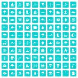 100 clouds icons set grunge blue Stock Images