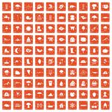 100 clouds icons set grunge orange. 100 clouds icons set in grunge style orange color isolated on white background vector illustration royalty free illustration