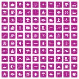 100 clouds icons set grunge pink. 100 clouds icons set in grunge style pink color isolated on white background vector illustration stock illustration