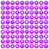 100 clouds icons set purple. 100 clouds icons set in purple circle isolated vector illustration stock illustration