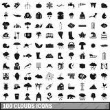100 clouds icons set, simple style Royalty Free Stock Photo