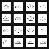 Clouds icons set squares vector. Clouds icons set in white squares on black background simple style vector illustration Royalty Free Stock Photo