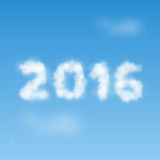 Clouds with 2016. Illustration of numbers 2016 shaped from white clouds on the background of blue sky Royalty Free Stock Images