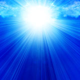 Clouds with intense sunlight. And rays Royalty Free Stock Photo