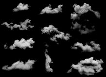 Clouds isolated on black baclground Royalty Free Stock Photos