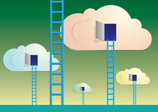 Clouds with ladders Royalty Free Stock Photography