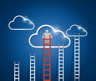Clouds and ladders. blue. illustration design Stock Photos