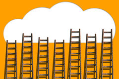 Clouds with ladders on orange wall Stock Image
