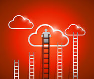 Clouds and ladders. red. illustration design Royalty Free Stock Photo