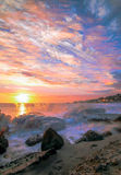 Clouds of Laguna Beach. A layered Stationary time-lapse of South Laguna sunset Stock Photo