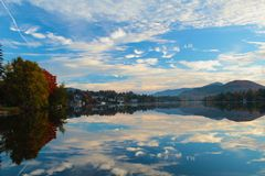 Clouds lake. Clouds reflecting in Mirror Lake New York Royalty Free Stock Photography