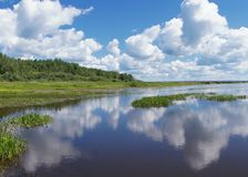 Clouds. Landscape with the clouds which are reflected in the river Stock Photography