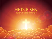 Clouds and lettering He is risen. Religious background, cross against the orange sky with clouds, sun rays and lettering He is risen, Easter theme, illustration Stock Image