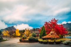 Clouds lifting up after rain in autumn at a park in Fujikawaguchiko, Japan royalty free stock photography