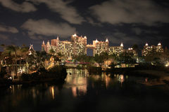 Clouds and light reflections at night. Atlantis hotel, Bahamas Royalty Free Stock Image
