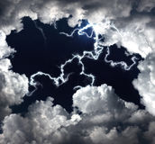 Clouds and lightning Stock Photo