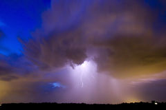 Clouds & lightning. Cloudburst with lightning scenery, Holland Royalty Free Stock Photos