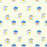 Clouds with lightning pattern. Vector seamless pattern. Cute clouds, raindrops. Illustration for children`s parties, packages. stock illustration