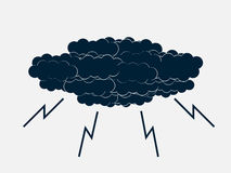 Clouds with lightning thunderstorm. Vector Royalty Free Stock Photography