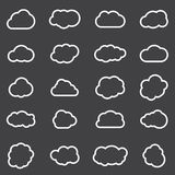 Clouds line art icons set. Storage solution element, databases, networking, software image, cloud and meteorology concept Royalty Free Stock Photo
