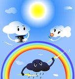 Clouds in love. In the blue sky two lovers clouds, rainbow, beneath a thundercloud is angry at them Royalty Free Stock Image