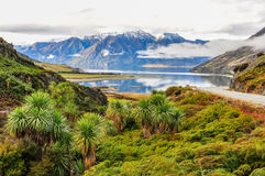Clouds lying low near Wanaka in Southern Lakes, New Zealand. Clouds lying low over a lake near Wanaka in the Southern Lakes Region of New Zealand Royalty Free Stock Images