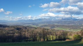 Slovenia on a sunny day with a few clouds. Clouds magical view Slovenia stock photography