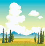 Clouds, meadow, mountains and blue sky. Summer landscape. Summer landscape - green forest, blooming meadow, blue mountains and cloudy sky. Vector nature Stock Photography