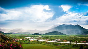 Clouds and mist over the Neretva river valley Stock Photos