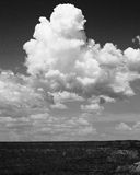 Clouds Monsoon Weather Southwestern Monochromatic. Cumulus cloud formations over Grand Canyon National Park in northern Arizona during southwestern monsoon Stock Photos