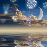 Clouds, moon & fireworks Stock Photos