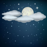 Clouds and moon. The clouds, moon and night stars sky background Royalty Free Stock Photos