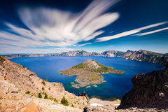 Clouds in Motion. Daytime Long exposure with a ND filter at Crater lake National Park, Oregon with some interesting clouds in motion Stock Photos