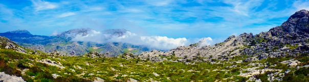 Clouds in mountain - Majorca, Spain Stock Image