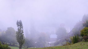 Clouds in a mountain valley. Upper Svaneti, Georgia stock video footage